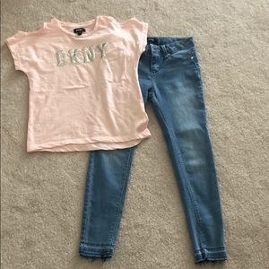 DKNY Girls Outfit Top and Jeans Lot Size 12